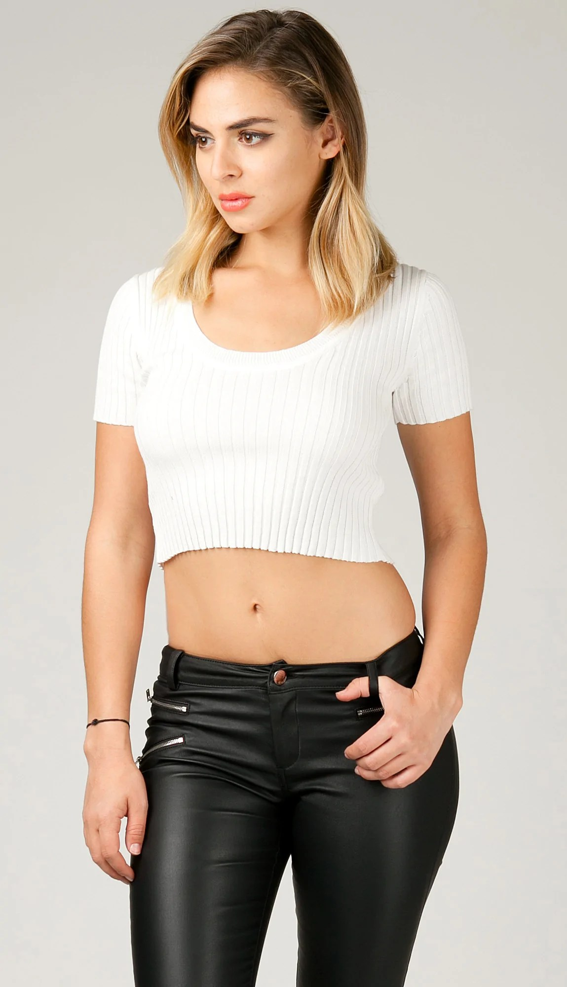 Ribbed Roundneck Short Sleeve Crop Top  White  ANGL