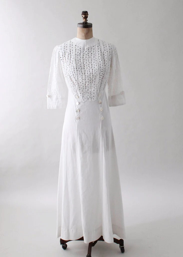 Antique 1910s Edwardian Cotton Lawn Dress  Raleigh Vintage