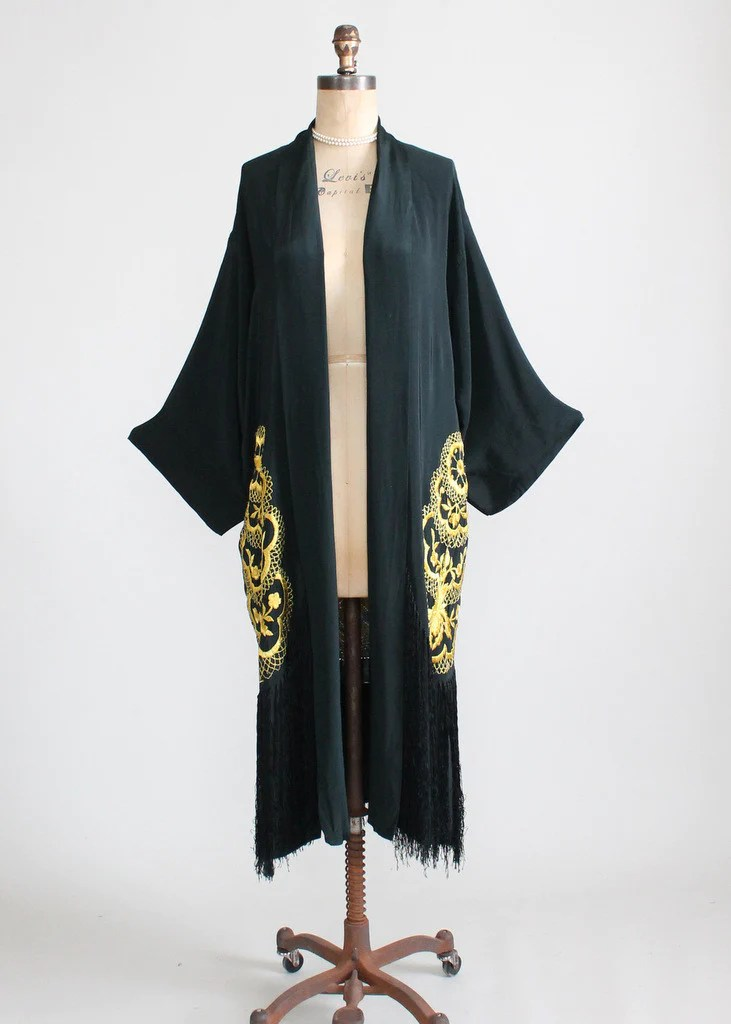 Vintage 1920s Embroidered and Fringed Kimono Robe