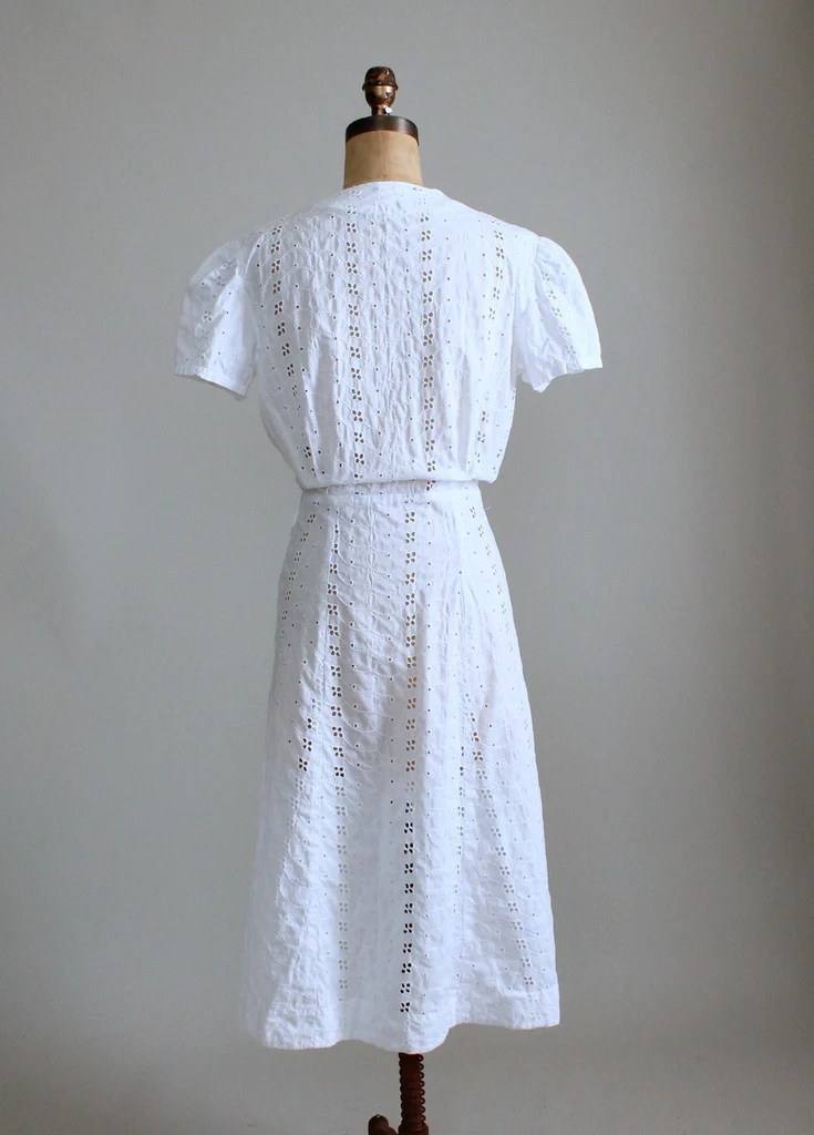 Vintage 1940s White Eyelet Cotton Day Dress Raleigh Vintage