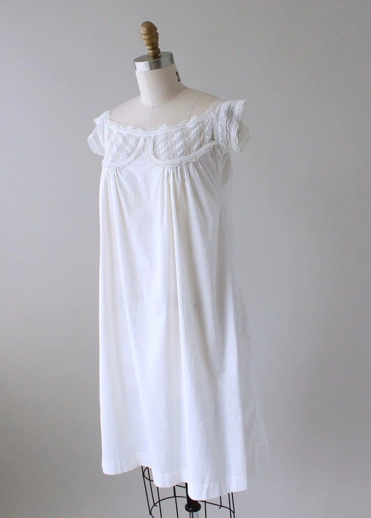 Vintage 1910s White Cotton and Lace Summer Dress  Raleigh Vintage