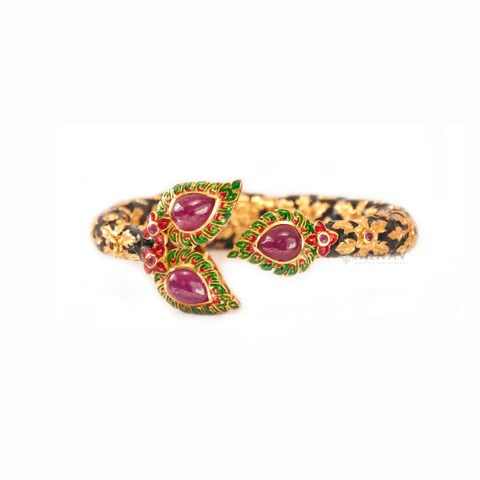 Ruby and Enamel Kada (Silver)