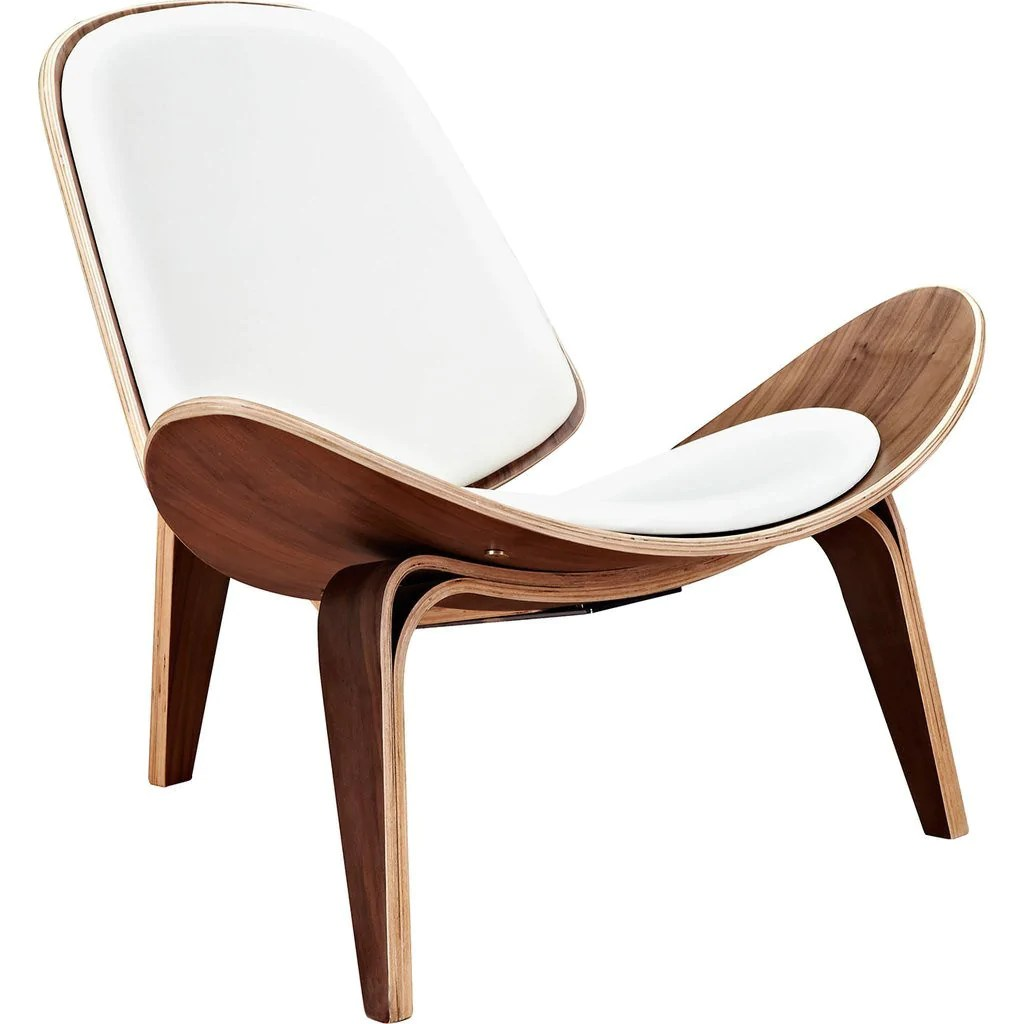white shell chair reclining lounge nyekoncept walnut milano sportique