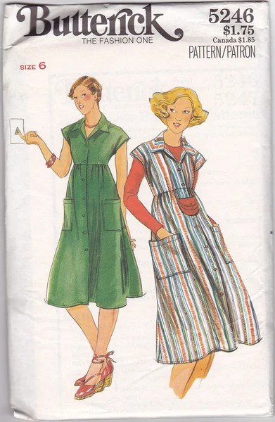 1970s High Waisted Dress Vintage Pattern Butterick 5246