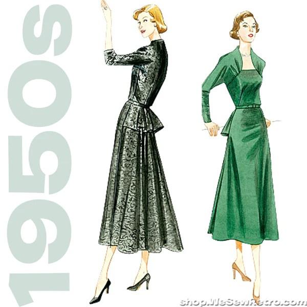 Vogue 8768 1950s Vintage Vogue Sewing Pattern Peplum