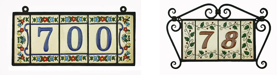 mexican tile house numbers letters