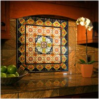 Kitchen wall mural with hand painted Mexican decorative ...