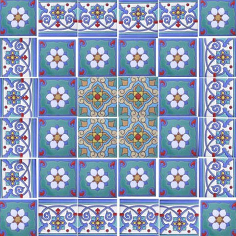 mexican style mural blue mission