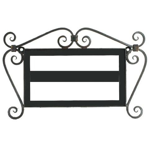 hand forged iron address frame with scroll
