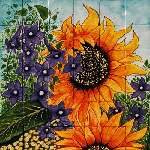 Mexican Style Mural  Girasoles  Mexican Tile Designs