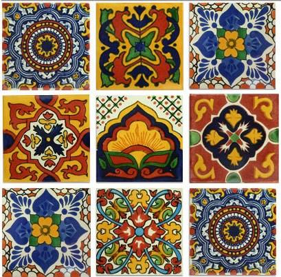 Gold and Terra Cotta Mexican Talavera Tile Collection