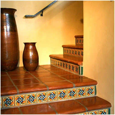Stair Coping Classic 12 Width Mexican Saltillo Floor Paver | Stairs Floor Tiles Design | Step | Shop | Stair Riser | Wood | Stair Flooring