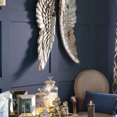 Glass Table Sets For Living Room Furniture Mn Large Rustic Antiqued Decorative Angel Wings - Silver Or Grey
