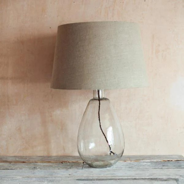Tall Hand Blown Glass Lamp With Linen Shade Greige