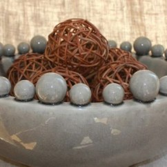 Large Kitchen Rugs Garbage Pails Grey Ceramic Bowl With Bobbles On Rim