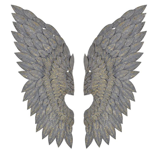 Large Gilt Angel Wings with a Grey Wash Finish