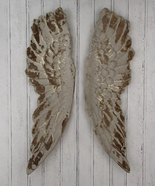 kitchen curtain ideas floor mats large rustic antiqued decorative angel wings - silver or grey