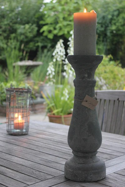 Heavy Rustic Natural Stone Effect Candle Holders Candlesticks  Grey  Greige  Home  Garden