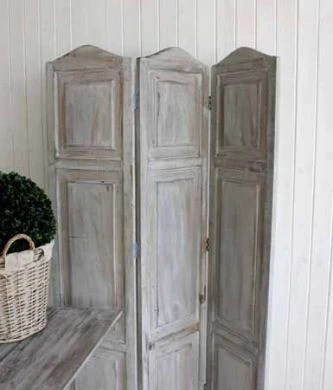 Grey Wash Wooden Screen Room Divider  Three Panels