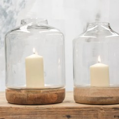 Small Living Room Design Ideas Uk Rustic Contemporary Bottle Shape Glass Hurricane Lantern With Wood Base