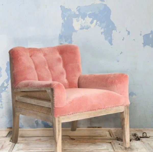 velvet armchair pink lowes patio chairs clearance blush deconstructed