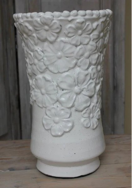 Decorative Rustic White Ceramic Vase With Embossed Flowers Greige Home Amp Garden Accessories