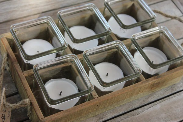 Rustic Wooden Tray with Six TeaLight Holders