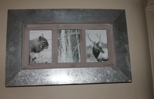 Metal and Wood MultiPhoto Frame  Three Apertures