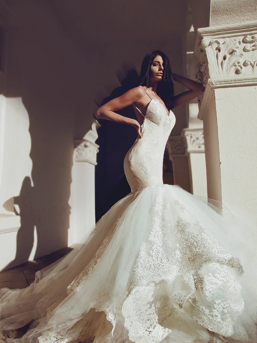 Lauren Elaine Arabelle  Dramatic Backless Lace Mermaid Wedding Gown