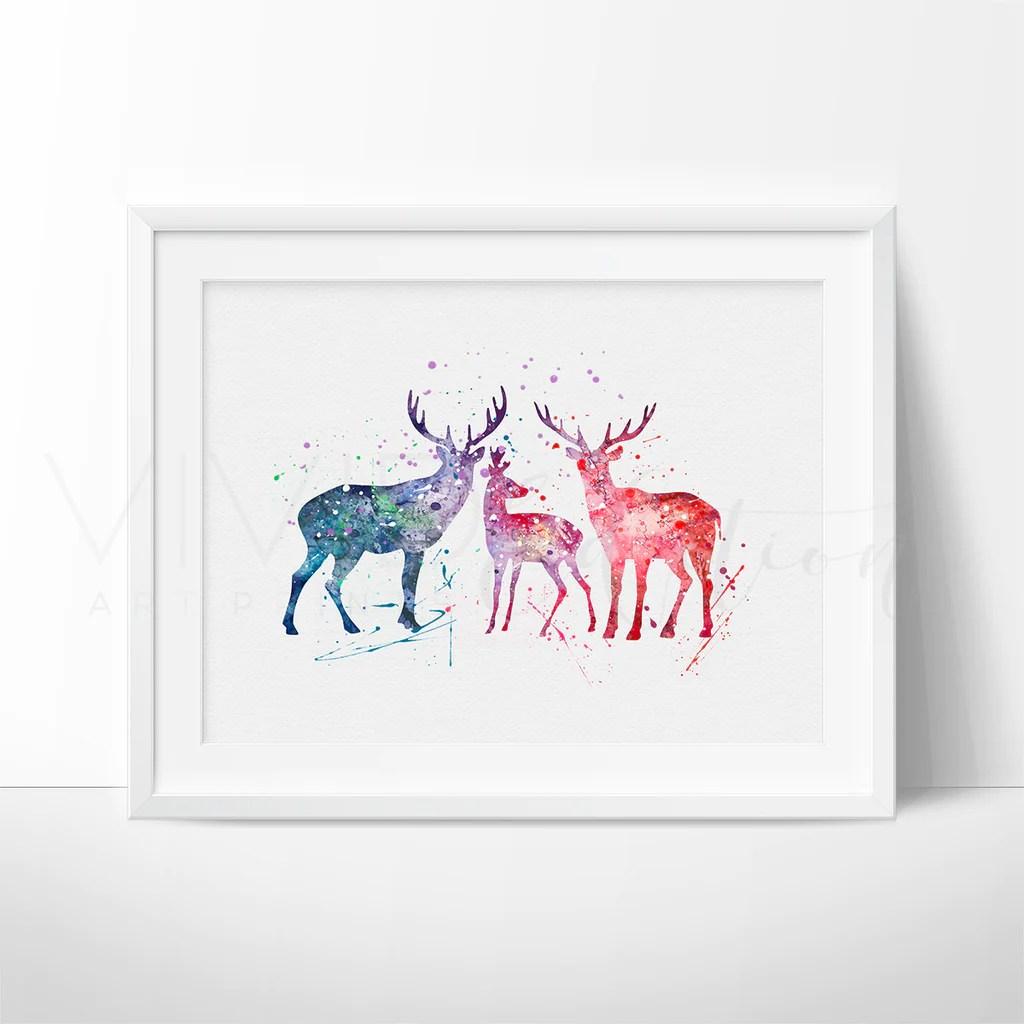Deer Family Watercolor Nursery Art Print Wall Decor - Vivideditions