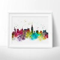 New York City Skyline Cityscape Watercolor Art Print Wall ...
