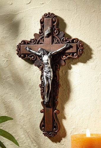 Jesus Calvary Ornate Pastoral Wall Crucifix Beattitudes