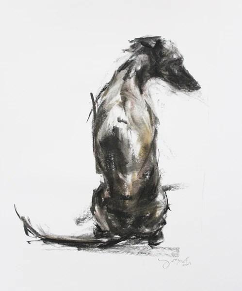 SOLD Whippet Sitting Pastel Sketch 2 PaintMyDog Dog
