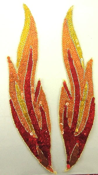 Flame Pair Red and Gold Orange Sequins Gold Beaded Trim 14x 3  Sequinappliques