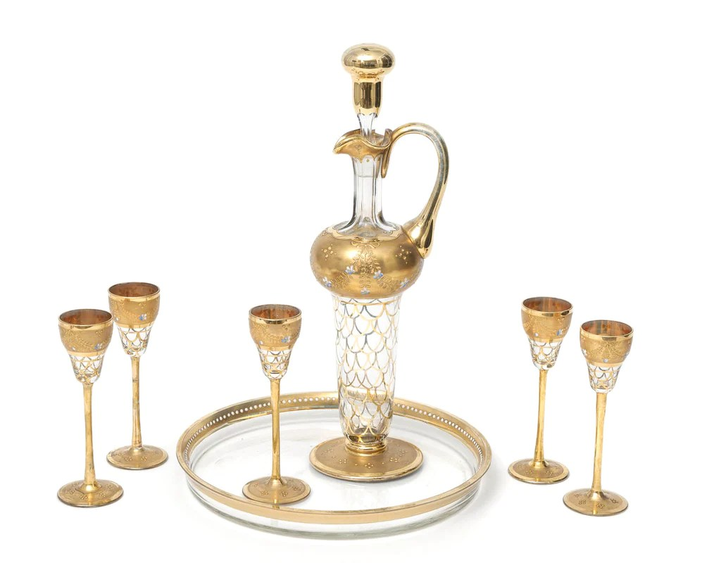A Grand Antique Bohemian Liqueur Glass Set with Decanter