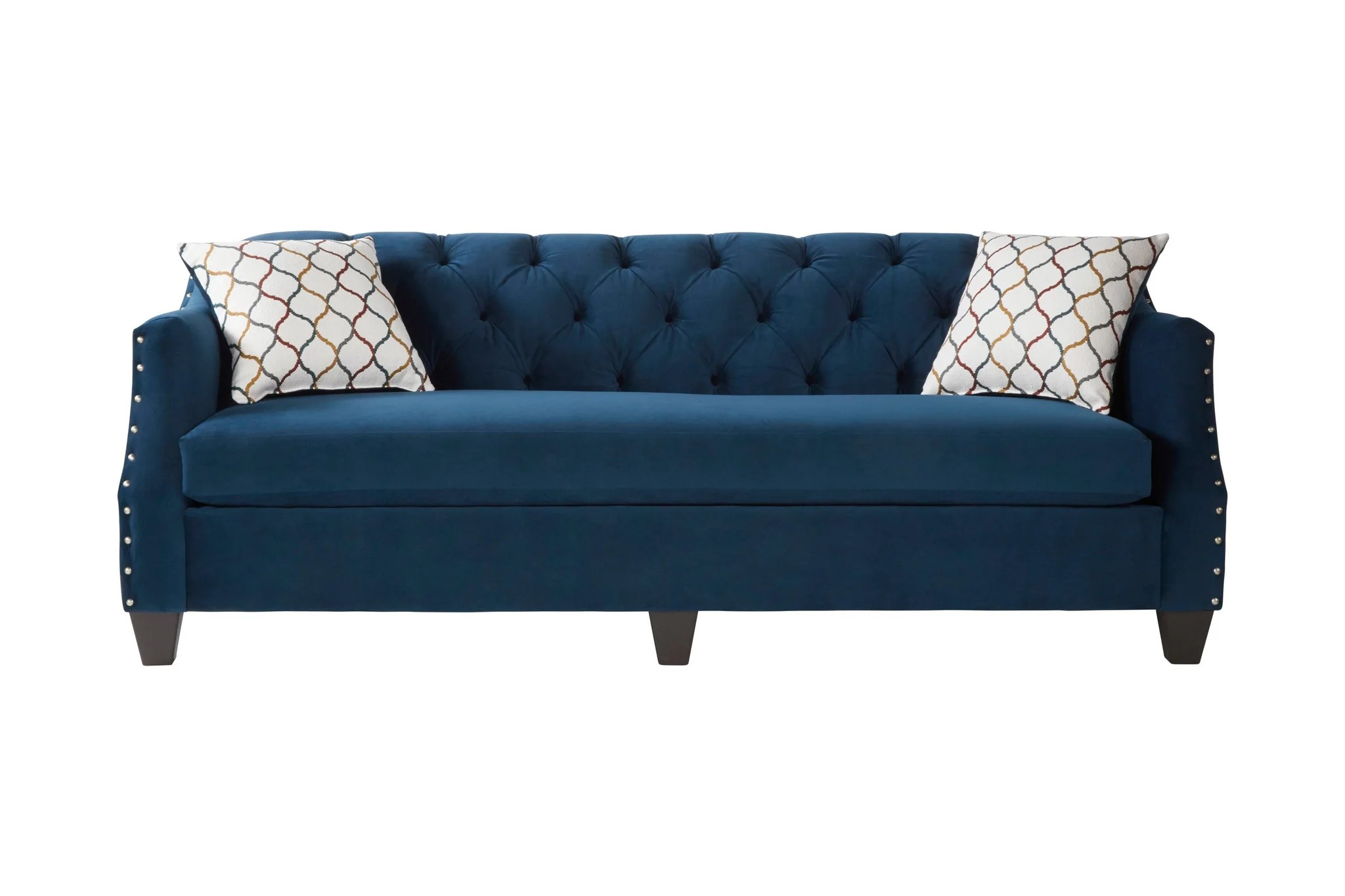 Moselle Transitional Modern Velvet Tufted Sofa With Nainhead Trim Blu Roundhill Furniture