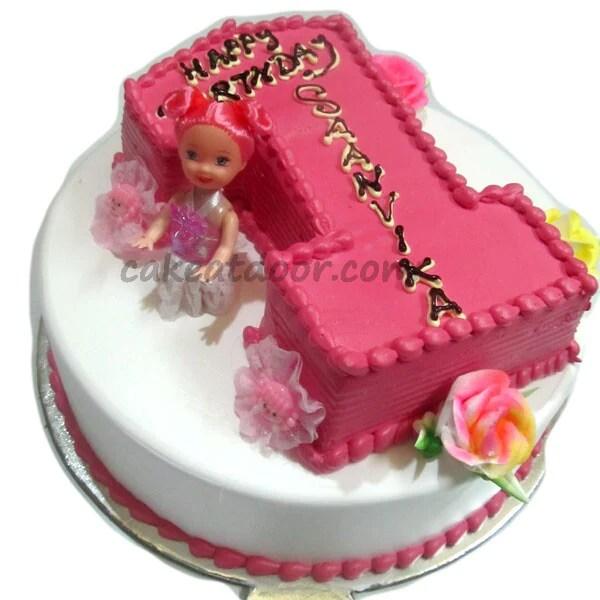 First Birthday Baby Girl Double Cake 5kg C072 Cakeatdoorcom