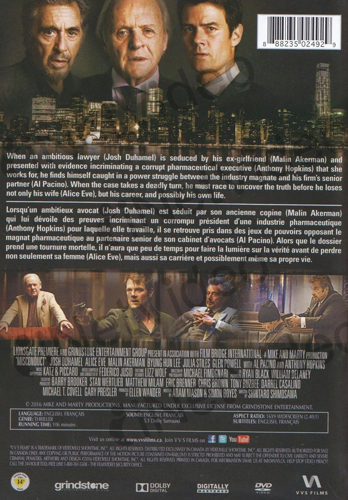 Misconduct Bilingual on DVD Movie