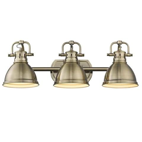 elm 3 light bath vanity in aged brass