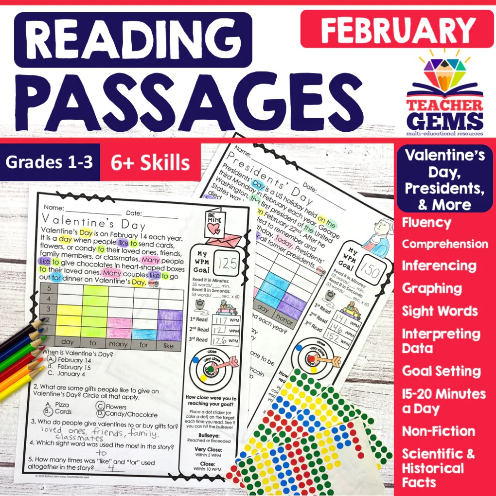 February Reading Passages - Valentine's Day [ 1020 x 1020 Pixel ]
