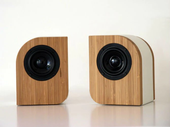 Pebble passive leather bamboo home speakers a feast for the ears amp ey