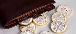Coins in leather wallet