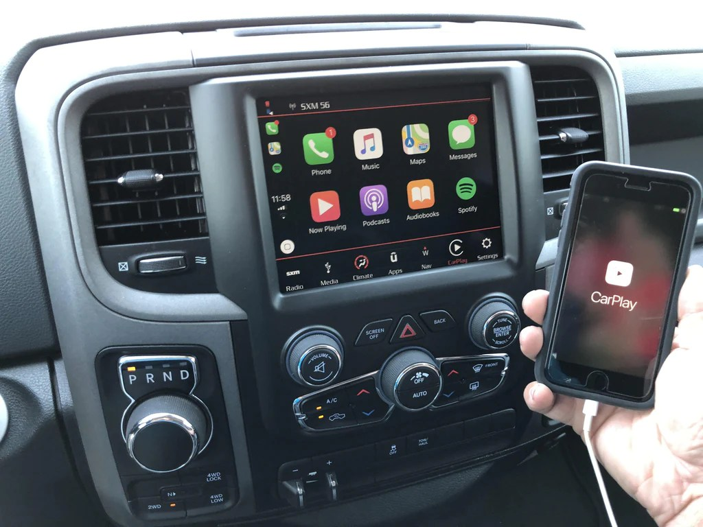 2013 2018 ram 1500 2500 3500 8 4 4c nav uaq retrofit kit with apple carplay [ 1024 x 768 Pixel ]