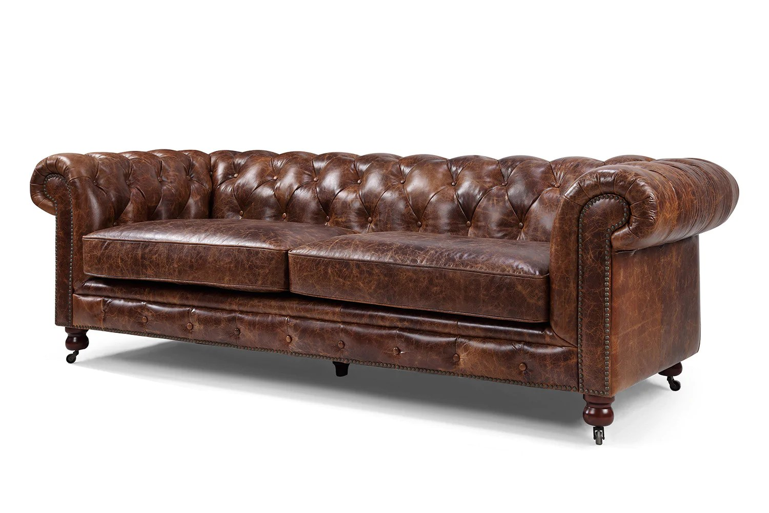 vine brown leather tufted sofa levin sofas the kensington chesterfield rose and moore
