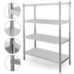 Happybuy Stainless Steel Shelving 47x18 5x60 Inch 4 Tier Stainless Ste Wufair