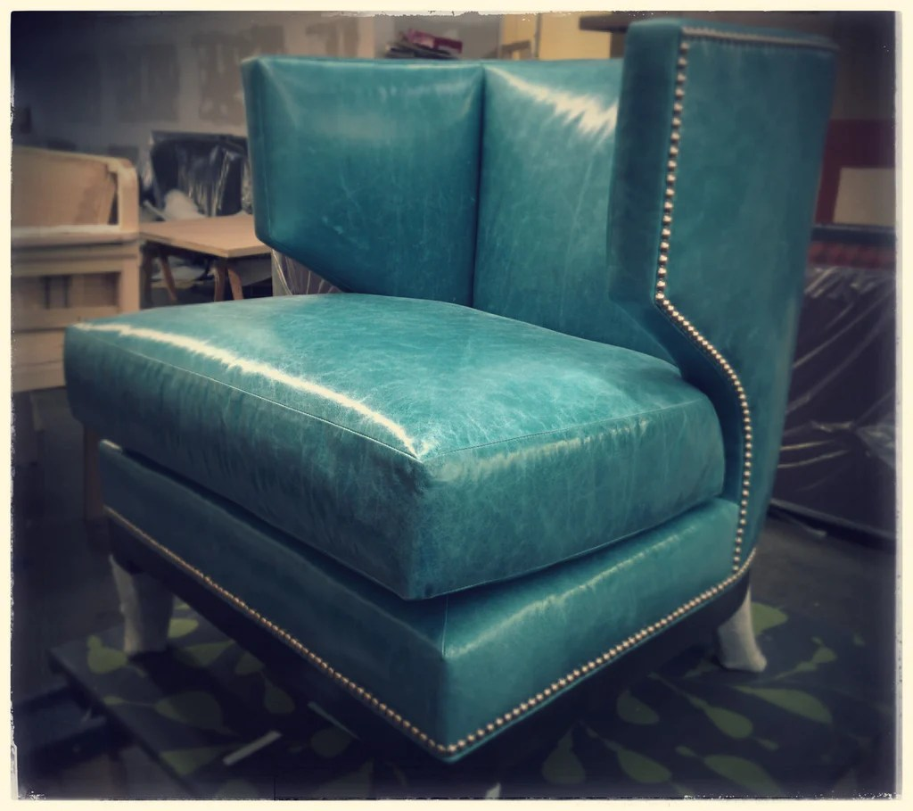 turquoise lounge chair patio set of 2 leather modern with polished chrome nail trim