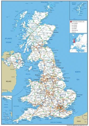 United Kingdom Road Map I Love Maps