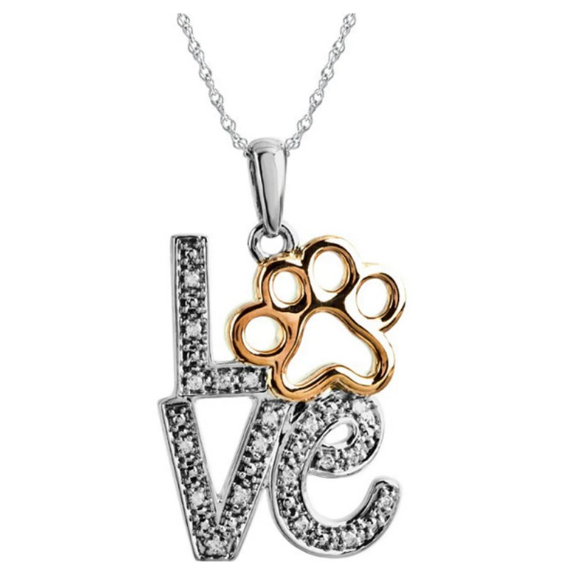 Diamond Love Animal Paw Print Necklace