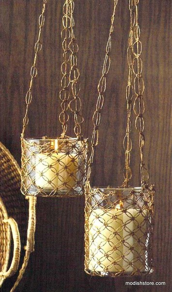 Roost Macrame Hanging Glass Candle Holders  Set Of 2