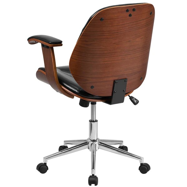 black leather desk chairs fishing chair amazon flash furniture mid back executive wood swivel office ch modish store